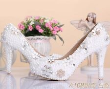 Fantastic Crystal Sparkling Princess Party Wedding Bridal High Heel White Shoes