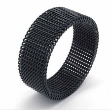 8mm Mens Black Engagement Unique Net Stainless Steel Ring Band 7 8 9 10 11 12 13