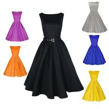 Womens Rockabilly Vintage style 50s 60s Swing Housewife Prom Party Peplum Dress