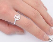 Peace Sign Rings Sterling Silver 925 Plain Hippie Symbol Jewelry Gift Selectable