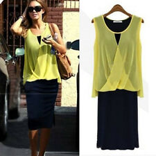 Fashion Women Chiffon Casual Lady Dress Bohemian Sleeveless Dresses T17C