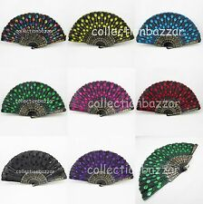 Wholesale Black Spanish Embroidered Beads Cloth Folding Hand Fans in 8 Colors