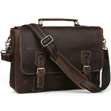 "Men's Vintage Leather Briefcase Messenger Shoulder Bag 15"" Laptop Saddle Satchel"