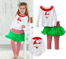 2 in1 baby girl clothes kids Christmas set t-shirt +skirt outfits for 0-3Y R46
