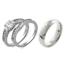 His Hers 3 PCS Clear CZ Stainless Steel Wedding Set w/ Mens Matching Band