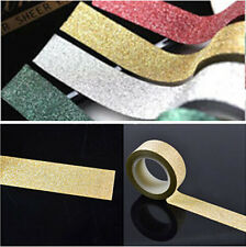 5M Glitter Washi Tape Paper Self Adhesive Stick On Sticky DIY Craft Decorative