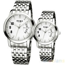 EYKI Steel band White dial Women' Luxury Auto Quartz Date Wrist Watch Clearance