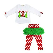 sale baby girl clothes kids Christmas set t-shirt +skirt outfits for 2-6Y R49