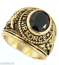 Jet Black Stone US Air Force Military Gold EP Mens Ring