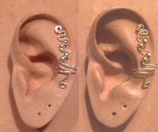 HANDMADE SS OR 14KGF WIRE WRAPPED EAR IVY PIN CUFF UPPER EAR CARTILAGE PIERCING
