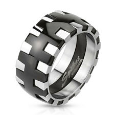 316L Stainless Steel Black & Silver Men's Gear Design Band Ring Size 9-13