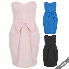 Women boob tube bandeau neck bow front backless mini tulip dress party prom