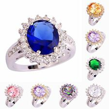 Christmas Gift Rainbow & White & Pink Topaz Gemstone Silver Ring Size 6 7 8 9 10
