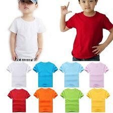 New Kids Boys Plain Blank Tee T-Shirt 9 Color Round Neck 9 Color