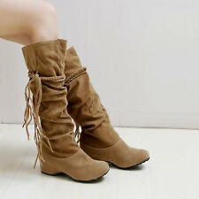 New Women's Knee High Lace Up Buckle Fashion Winter Casual Boots Suede Tassel