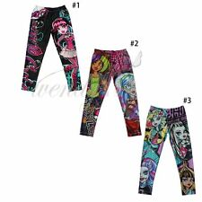 MONSTER HIGH Childs Kids Girls Leggings Pants Skinny Pencil Trousers Clothes