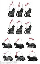 WOODEN BLACK CAT HANGING HOME DECORATION RIBBON SENTIMENTS SLOGAN LOVE PETS GIFT