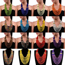 Hot Fashion Handmade Chain Resin Seed Beads Cluster Choker Pendant Bib Necklace