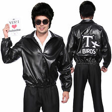 Mens Grease Leather Look T-Bird Jacket Danny T Bird Fancy Dress Costume Black