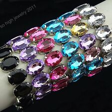Fashion 6-12pcs Crystal Acrylic Women Stretchy Bracelets Bangles Wholesale Lots