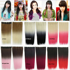 Top Womens Synthetic Long Straight Five Clips Two Tone Gradient Hair Extension