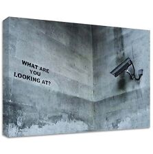 Banksy What Are You Looking At Canvas | LARGE WALL ART | street graffiti cctv