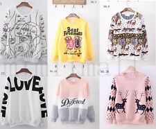 Christmas 39 Models Korean Stitching Cartoon Pattern Long-Sleeved Sweater Tops