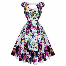 Hearts and Roses London Pretty Purple Floral 50s Vintage Tea Party Dress
