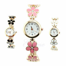 Fashion Daisies Flower Rose Golden Bracelet Women Girls Wrist Watch New