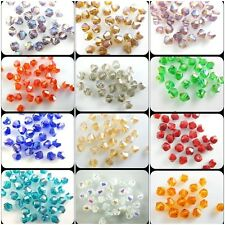 200Pcs 4mm Faceted Glass Crystal Loose Bead Spacer Bicone Finding 58Color U Pick