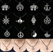 Charm Necklace Leather Cord Silver Boho vintage Tibetan Choker Black Pendant ue5
