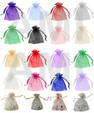 100 / 200 PLAIN OR HEART ORGANZA GIFT BAGS 5 SIZES PARTY WEDDING FAVOURS POUCHES