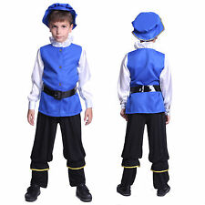 Boys Victorian Royal Blue Tudor Outfit Book Week Fancy Dress Party Costume