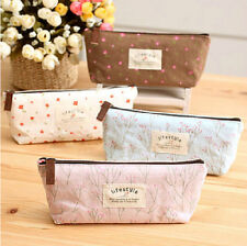 New Hot Soft Cotton Countryside Floral Pencil Pen Case Cosmetic Makeup Bag Pouch