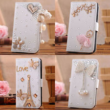 For HTC desire 510 610 fold Leather Case Wallet 3D bling crystal handmade cover