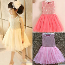 New Summer Baby Toddler Girls Sequins Flower Pageant Lace Princess Dress