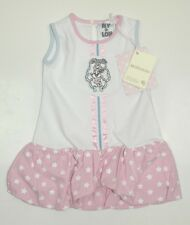 Monnalisa Dress With Bunny Motif, Stripe And Stars Pink & White ~ 637903R4