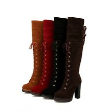 Women's Fashion Buckle Strap Side Zip Lace Up Block Heels Over The Knee Boots Sz
