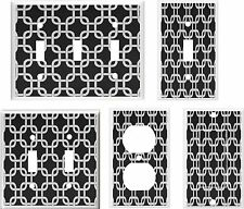 GEOMETRIC BLACK AND GRAY SQUARES LINKED IMAGE LIGHT SWITCH COVER PLATE OR OUTLET