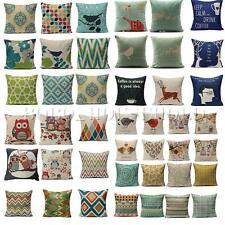 Colorful Simple Square Cotton Linen Throw Pillow Case Waist Sofa Cushion Covers