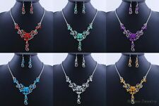 New Silver Plated Women Wedding Jewelry Crystal Rhinestone Necklace Earrings Set