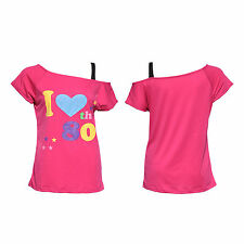 Women Rose Red Sexy I Love The 80s Retro T-Shirt Fancy Dress Party Costume