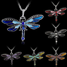 Retro Silver Jewelry Necklace Dragonfly Crystal Sweater Chain Pendant Enamel New