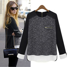 New Womens Long Sleeve Chiffon Knit Shirt Loose Top Casual Blouse Jumper Sweater