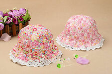 Girls kids Children Beach Travel Cotton Summer Soft Bucket Sun Hat Cap 2-4years