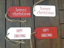 Red White Wooden Hanging Happy Christmas Gift Tags Gift Wrapping