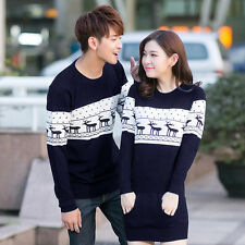 2014 Hot Womens Mens round neck Xmas Reindeer lovers Couples  sweater Knitting