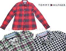 NEW WOMENS TOMMY HILFIGER CLASSIC BUTTON FRONT BOYFRIEND FLANNEL SHIRT! VARIETY