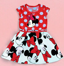 Baby Kids Girls Minnie Mouse Bowknot Cosplay Printing Red Party Dress Skirt MN11