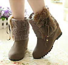 Hot women's Girls Flock  Wedge Heel Snow Fur Furry Tassel New Ankle Boots Shoes